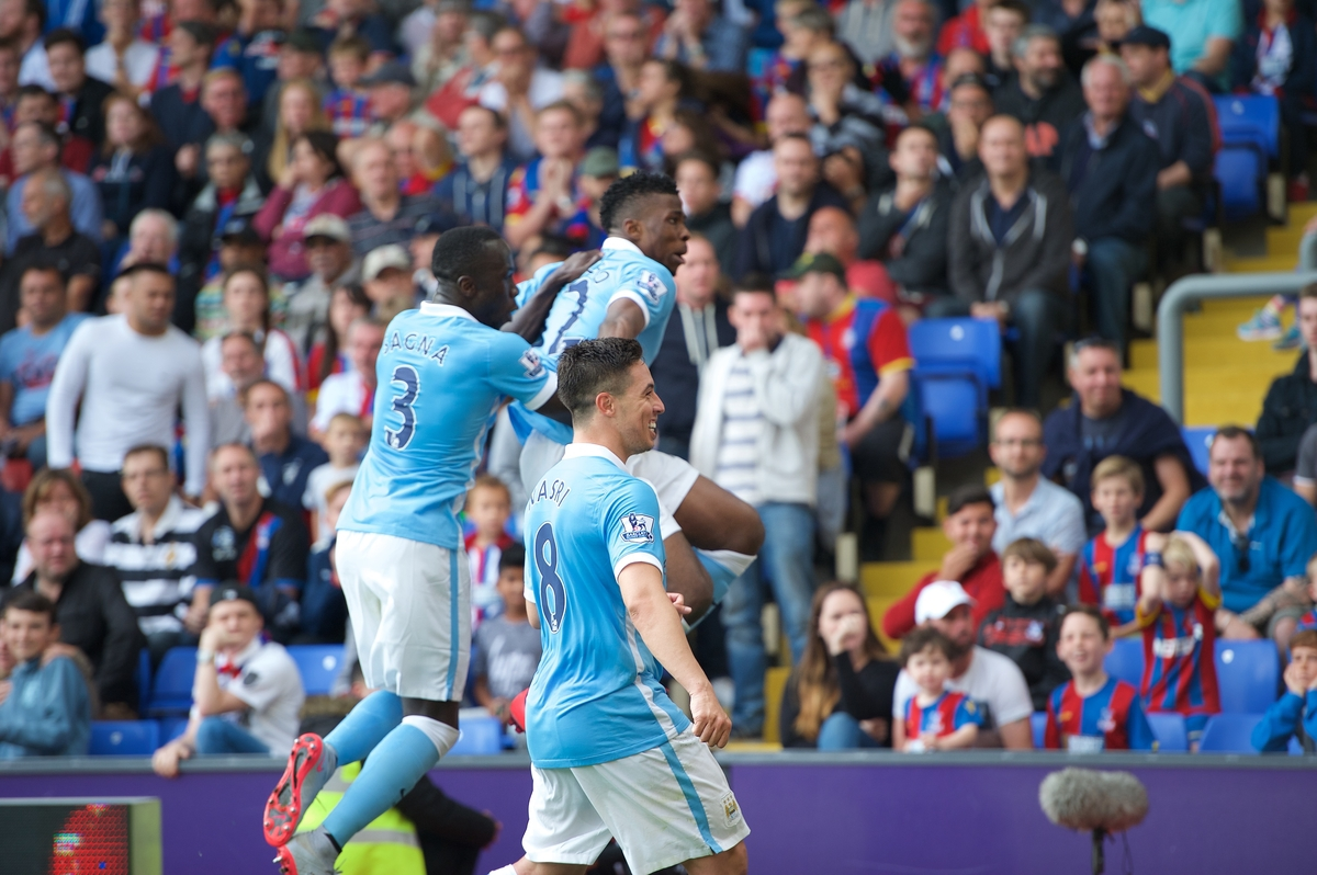 Kelechi Iheanacho (in the air) of Manchester City celebrates scoring the winning goal during the Barclays Premier League match at Selhurst Park, London Picture by Alan Stanford/Focus Images Ltd +44 7915 056117 12/09/2015