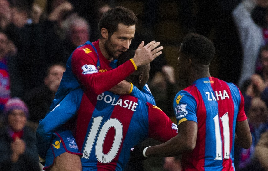 Yohan Cabaye of Crystal Palace celebrates with Yannick Bolasie of Crystal Palace after scoring during the Barclays Premier League match at Selhurst Park, London Picture by Jack Megaw/Focus Images Ltd +44 7481 764811 12/12/2015