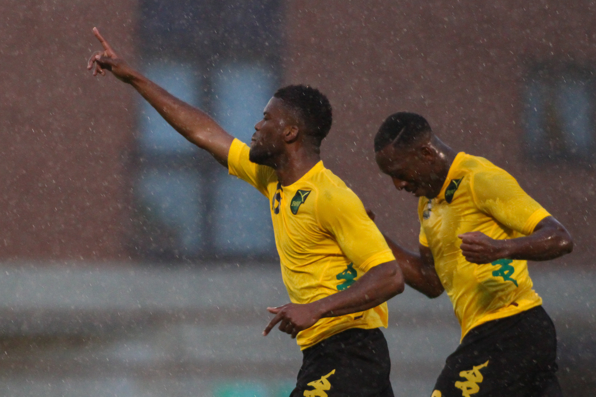 Joel Grant of Jamaica celebrates scoring his team's second goal during the International Friendly match at the Matchroom Stadium, London Picture by David Horn/Focus Images Ltd +44 7545 970036 04/06/2014