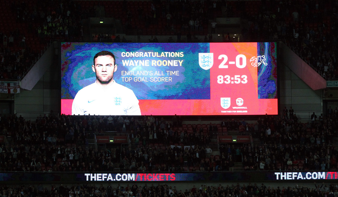 Wayne Rooney of England scores his sides 2nd goal and his 50th England goal and breaks the all time England goalscoring record during the UEFA Euro 2016 Qualifying match at Wembley Stadium, London Picture by Paul Chesterton/Focus Images Ltd +44 7904 640267 08/09/2015