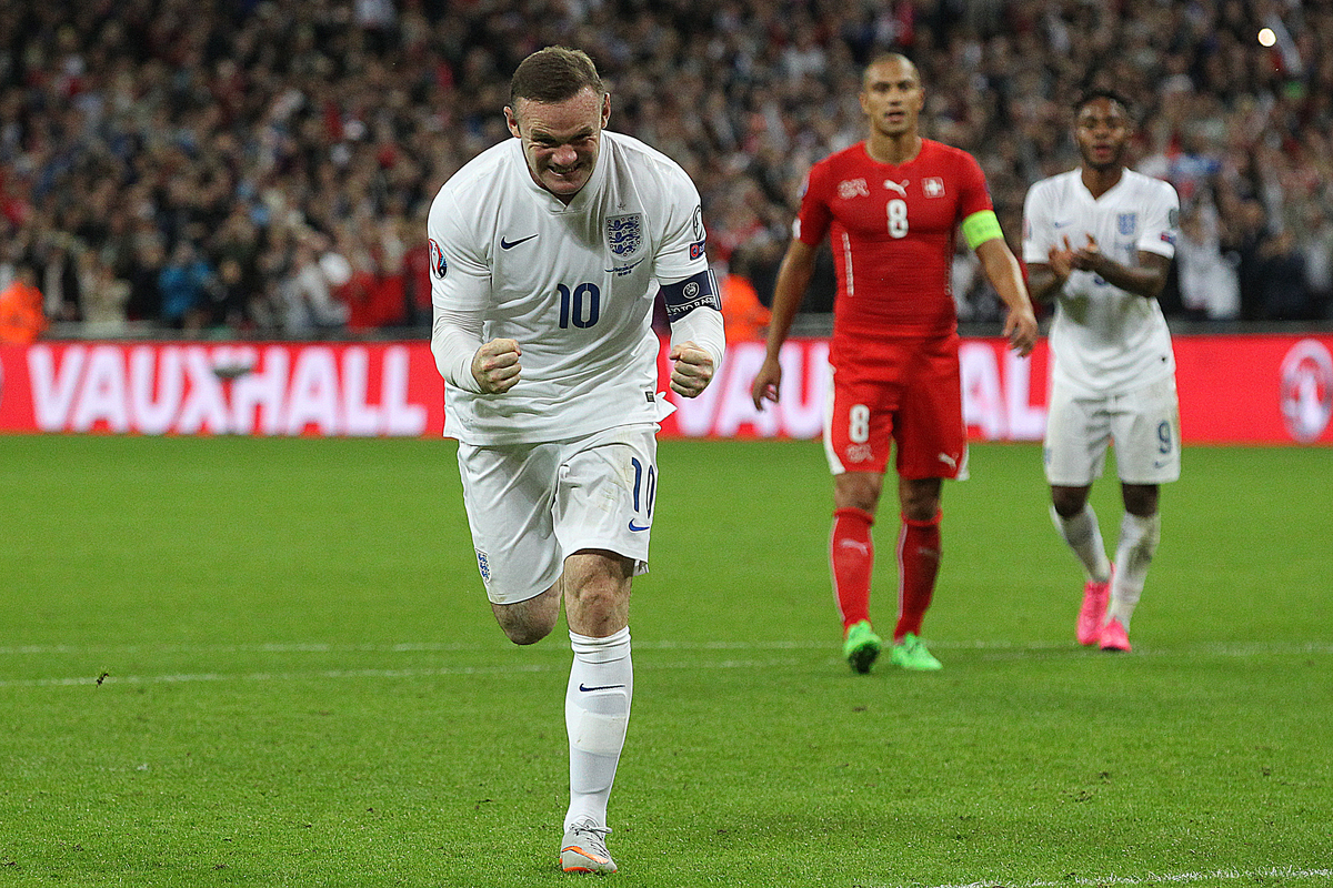Wayne Rooney of England celebrates scoring his sides 2nd goal and his 50th England goal and breaks the all time England goalscoring record during the UEFA Euro 2016 Qualifying match at Wembley Stadium, London Picture by Paul Chesterton/Focus Images Ltd +44 7904 640267