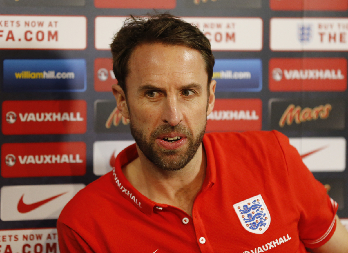 England U21 head coach Gareth Southgate during the England U21 Press Conference at Rockliffe Park, Darlington Picture by Simon Moore/Focus Images Ltd 07807 671782 29/03/2015