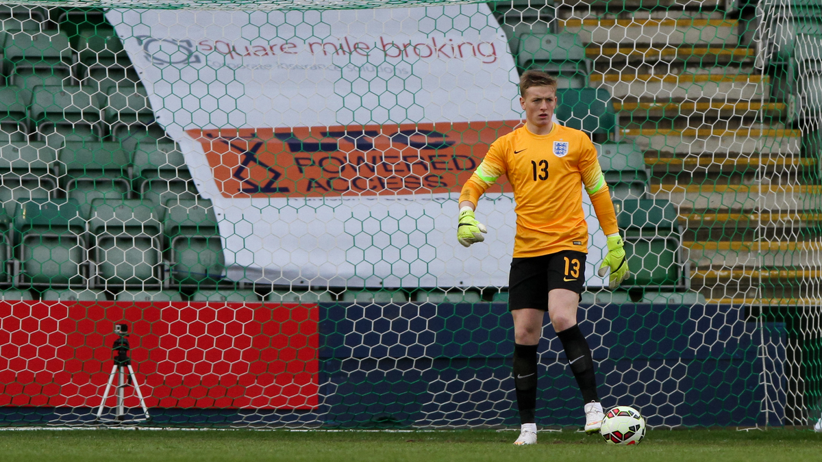 Jordan Pickford of England U20 during the International Friendly match at Home Park, Plymouth Picture by Tom Smith/Focus Images Ltd 07545141164 29/03/2015