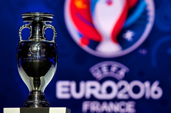 General view of the Henri Delaunay Cup, the trophy awarded to the winners of the UEFA EURO 2016 tournament pictured ahead of the UEFA EURO 2016 draw at Palais des Congres Acropolis, Nice Picture by Ian Wadkins/Focus Images Ltd +44 7877 568959 23/02/2014