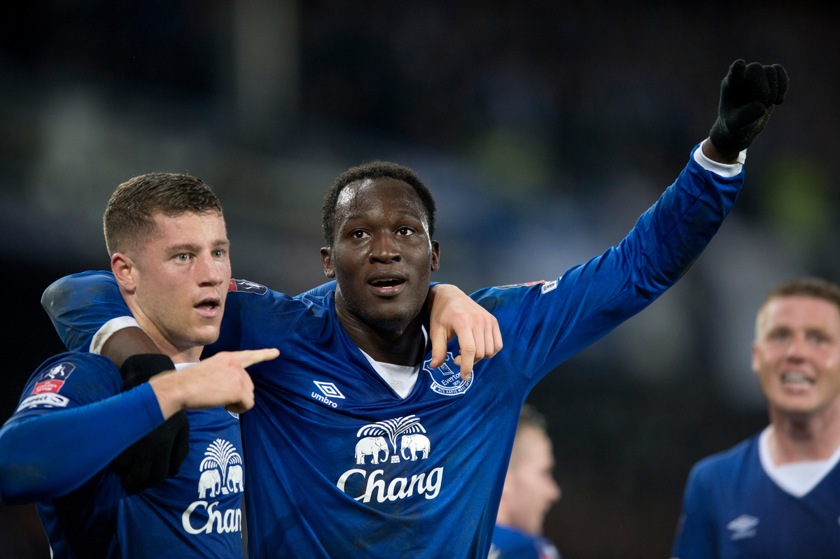 Romelu Lukaku of Everton (centre) celebrates after scoring his team's 2nd goal to make it 2-0 during the Barclays Premier League match at Goodison Park, Liverpool Picture by Russell Hart/Focus Images Ltd 07791 688 420 12/03/2016