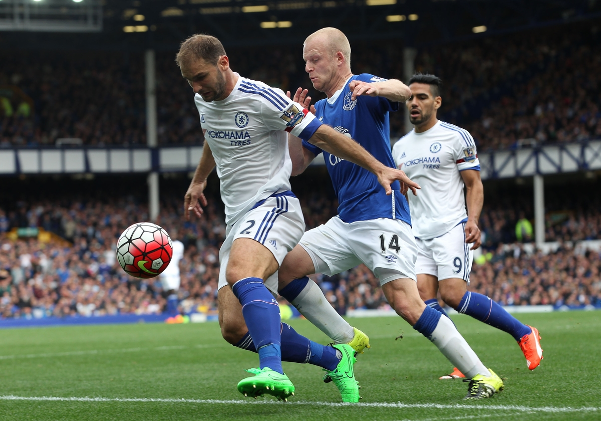 Steven Naismith of Everton and Branislav Ivanovic of Chelsea in action during the Barclays Premier League match at Goodison Park, Liverpool. Picture by Michael Sedgwick/Focus Images Ltd +44 7900 363072 12/09/2015