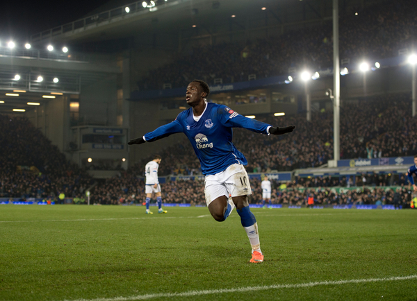 Romelu Lukaku of Everton celebrates after scoring his team's 2nd goal to make it 2-0 during the Barclays Premier League match at Goodison Park, Liverpool Picture by Russell Hart/Focus Images Ltd 07791 688 420 12/03/2016