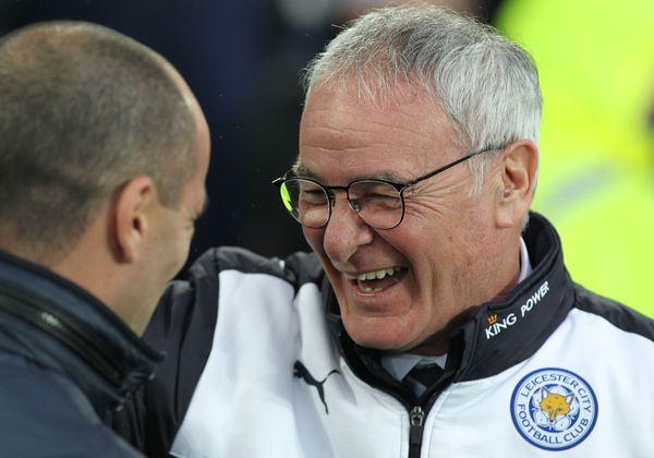 Roberto Martinez manager of Everton greets Claudio Ranieri manager of Leicester City before the Barclays Premier League match at Goodison Park, Liverpool. Picture by Michael Sedgwick/Focus Images Ltd +44 7900 363072 19/12/2015