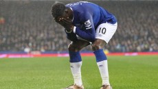 Romelu Lukaku of Everton shows his frustration after Ross Barkley misses a chance to score against Leicester City during the Barclays Premier League match at Goodison Park, Liverpool. Picture by Michael Sedgwick/Focus Images Ltd +44 7900 363072 19/12/2015