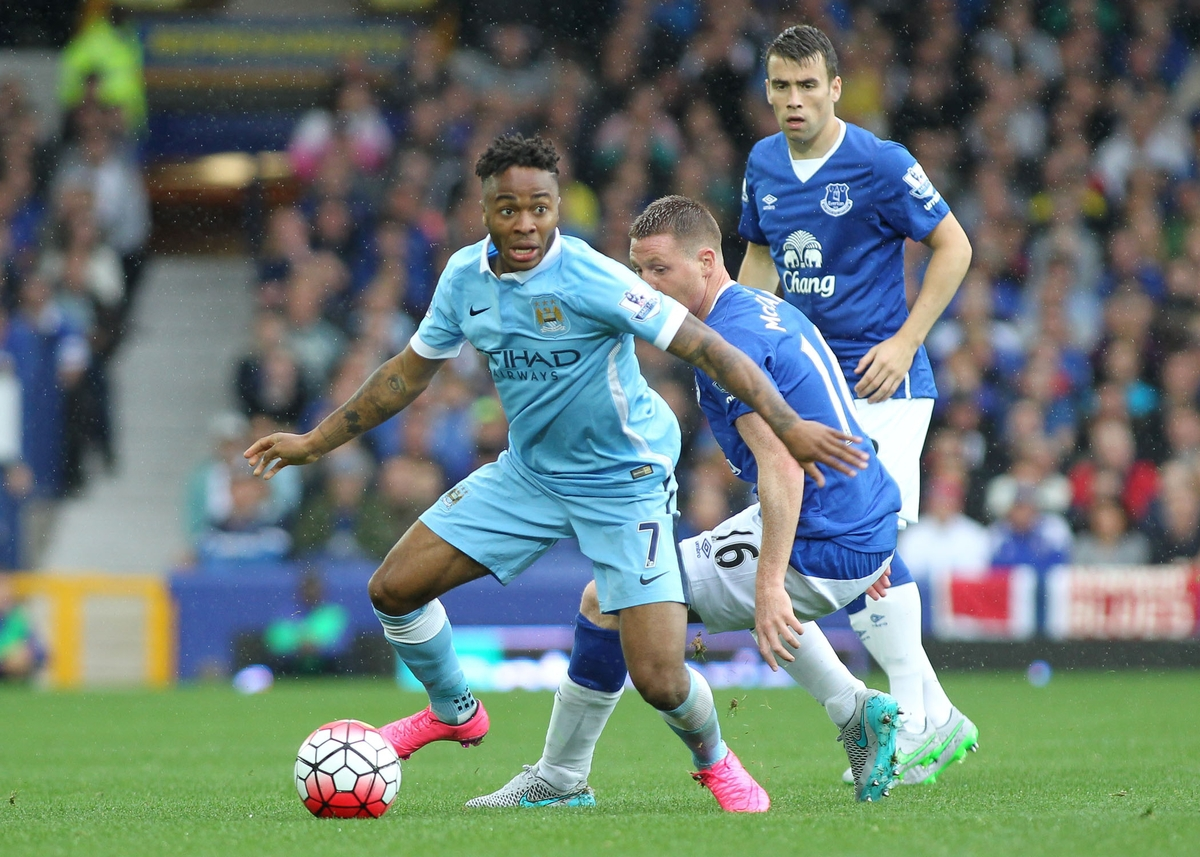 Raheem Sterling of Manchester City in action against Everton during the Barclays Premier League match at Goodison Park, Liverpool. Picture by Michael Sedgwick/Focus Images Ltd +44 7900 363072 23/08/2015