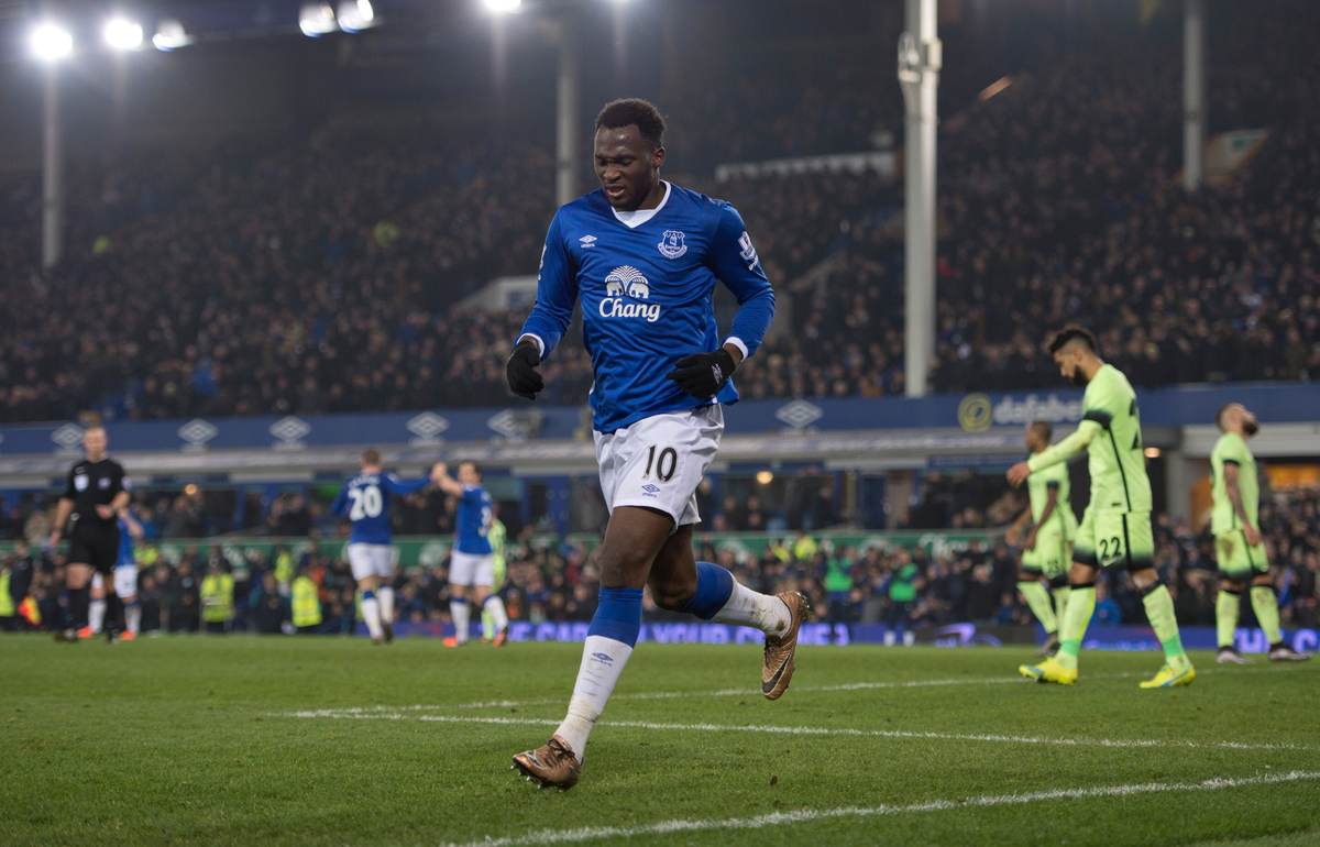 Romelu Lukaku of Everton pulls up after celebrating having scored his team's 2nd goal to make it 2-1 during the Capital One Cup semi-final match at Goodison Park, Liverpool Picture by Russell Hart/Focus Images Ltd 07791 688 420 06/01/2016