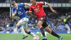 Anthony Martial of Manchester United and Seamus Coleman of Everton in action during the Barclays Premier League match at Goodison Park, Liverpool. Picture by Michael Sedgwick/Focus Images Ltd +44 7900 363072 17/10/2015