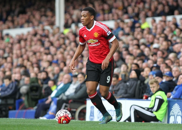 Anthony Martial of Manchester United in action against Everton during the Barclays Premier League match at Goodison Park, Liverpool. Picture by Michael Sedgwick/Focus Images Ltd +44 7900 363072 17/10/2015