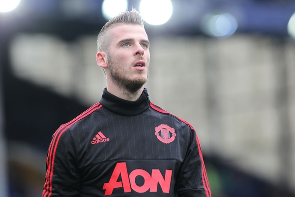 David De Gea of Manchester United prior to the Barclays Premier League match against Everton at Goodison Park, Liverpool. Picture by Michael Sedgwick/Focus Images Ltd +44 7900 363072 17/10/2015