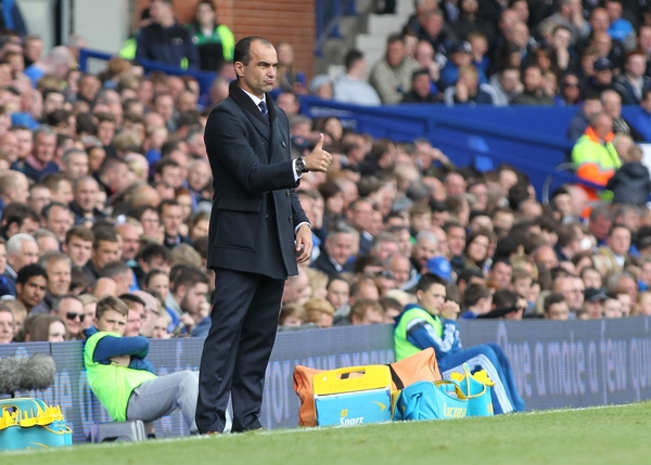 Roberto Martinez, manager of Everton on the touchline during the Barclays Premier League match against Tottenham Hotspur at Goodison Park, Liverpool. Picture by Michael Sedgwick/Focus Images Ltd +44 7900 363072 24/05/2015