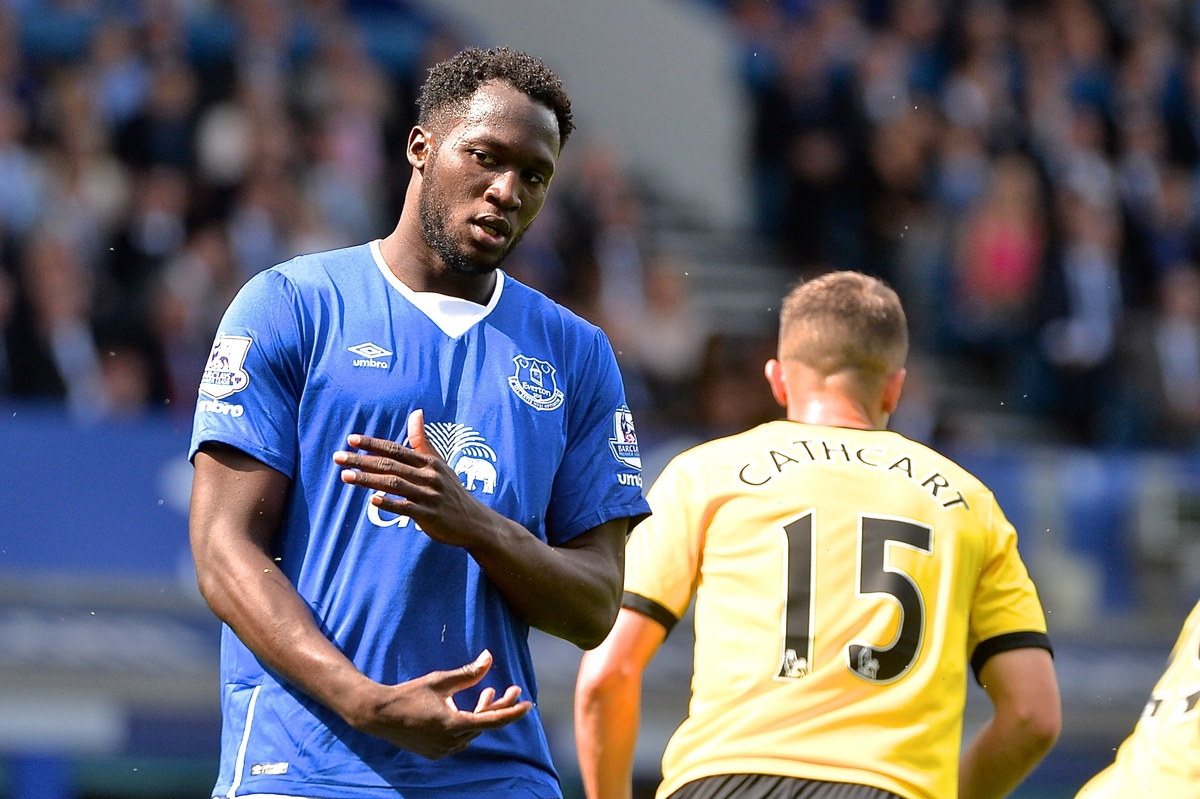 Romelu Lukaku of Everton is disappointed after missing a chance during the Barclays Premier League match at Goodison Park, Liverpool Picture by Ian Wadkins/Focus Images Ltd +44 7877 568959 08/08/2015