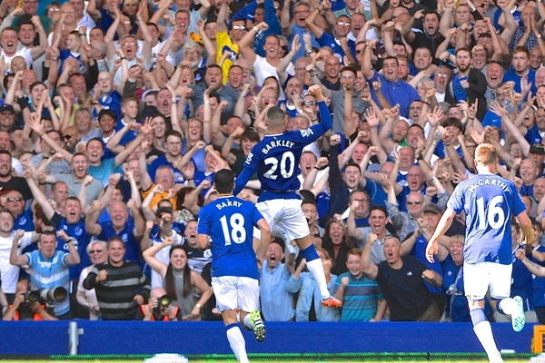 Ross Barkley of Everton celebrates scoring their first goal to make it Everton 1 Watford 1 during the Barclays Premier League match at Goodison Park, Liverpool Picture by Ian Wadkins/Focus Images Ltd +44 7877 568959 08/08/2015