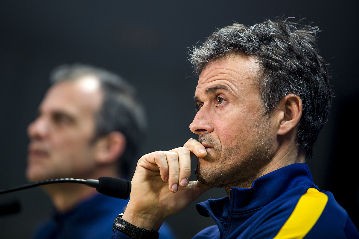 FC Barcelona's manager Luis Enrique during the FC Barcelona press conference at Ciutat Esportiva Joan Gamper, ahead of their UEFA Champions League match against Arsenal on Wednesday. Sant Joan Despí, Spain. Picture by Luis Tato/Focus Images Ltd (+34) 661 459 33 15/03/2016
