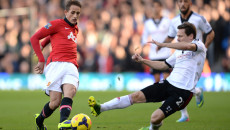 Picture by Andrew Timms/Focus Images Ltd +44 7917 236526 02/11/2013 Sascha Riether of Fulham and Adnan Januzaj of Manchester United during the Barclays Premier League match at Craven Cottage, London.