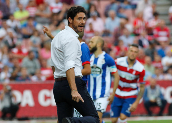 Deportivo de La Coruna  Manager  Victor Sanchez watches from the sidelines as Granada CF and Deportivo de La Coruna during the La Liga match at Estadio Nuevo Los Cármenes, Granada Picture by Andy Zakeli/Focus Images Ltd +34 651848516 03/10/2015