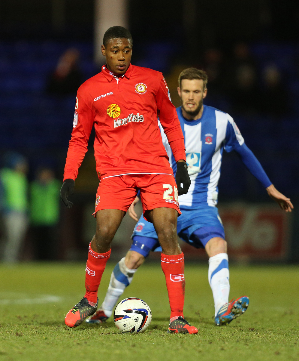 Picture by Paul Gaythorpe/Focus Images Ltd +447771 871632.26/02/2013.Chuks Aneke of Crewe Alexandra and Andy Monkhouse of Hartlepool United during the npower League 1 match at Victoria Park, Hartlepool.