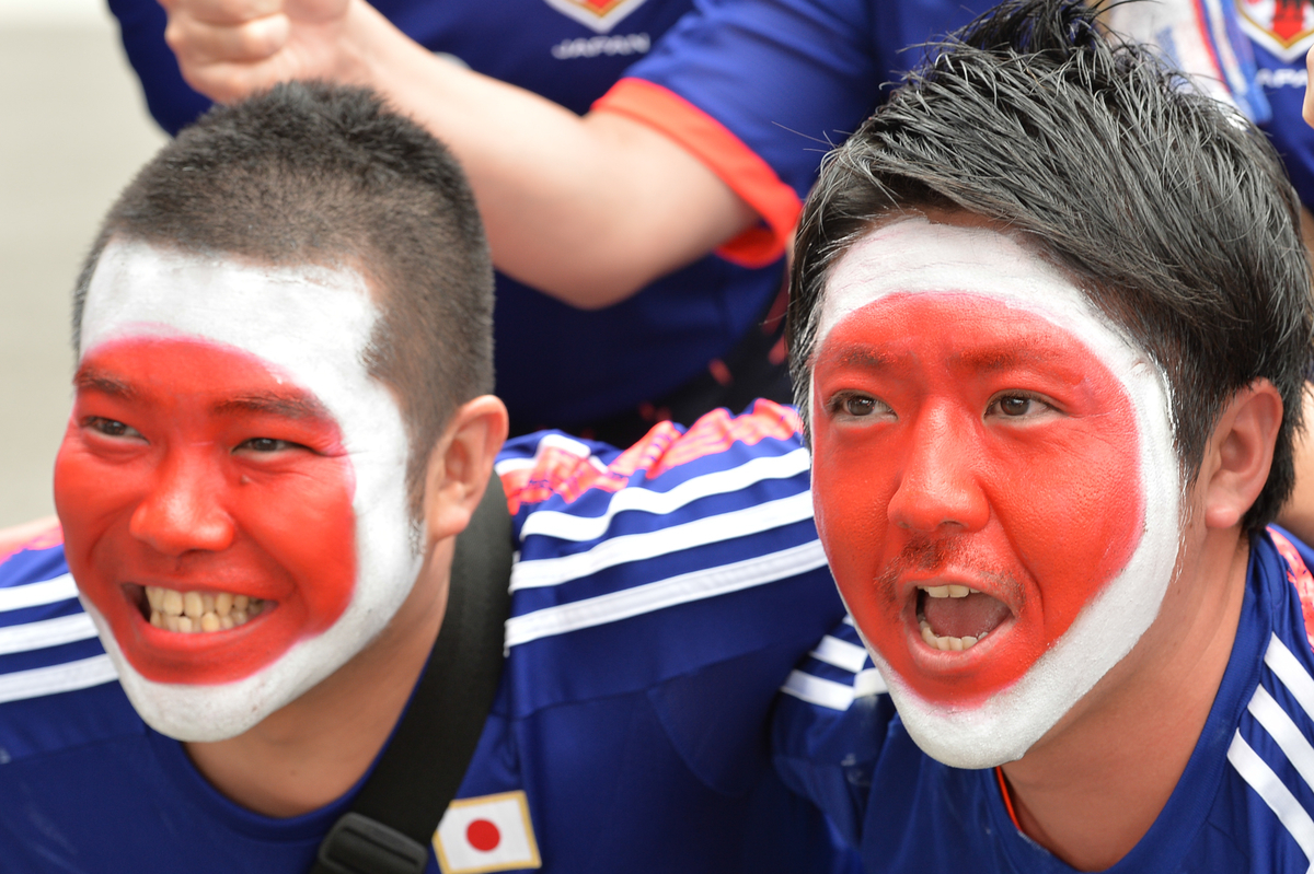Japanese fans poses for a photo during the AFC Asian Cup match at Melbourne Rectangular Stadium (AAMI Stadium) Melbourne, Australia Picture by Frank Khamees/Focus Images Ltd +61 431 119 134 20/01/2015
