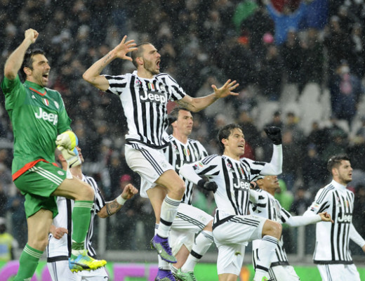 Leonardo Bonucci, (right) Gianluigi Buffon and team mates of Juventus celebrate victory during the Serie A match at Juventus Stadium, Turin Picture by Stefano Gnech/Focus Images Ltd  39 333 1641678 28/02/2016