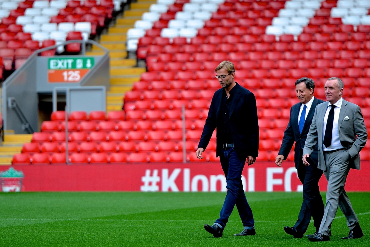 New Liverpool manager Jurgen Klopp (left) with Liverpool chairman Tom Werner (centre) and Liverpool Chief Executive Ian Ayre (right) during a press conference at Anfield stadium, Liverpool Picture by Ian Wadkins/Focus Images Ltd +44 7877 568959 09/10/2015