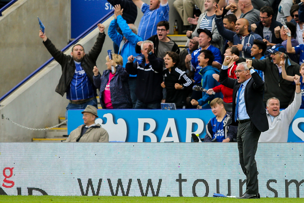Leicester City manager Claudio Ranieri celebrates their second goal during the Barclays Premier League match at the King Power Stadium, Leicester Picture by Andy Kearns/Focus Images Ltd 0781 864 4264 13/09/2015