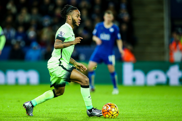 Raheem Sterling of Manchester City during the Barclays Premier League match at the King Power Stadium, Leicester Picture by Andy Kearns/Focus Images Ltd 0781 864 4264 29/12/2015