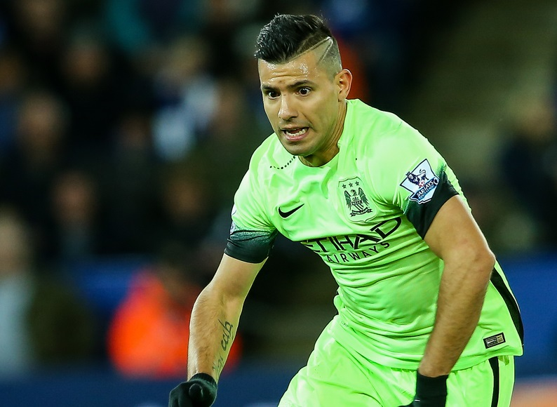 Sergio Aguero of Manchester City during the Barclays Premier League match at the King Power Stadium, Leicester Picture by Andy Kearns/Focus Images Ltd 0781 864 4264 29/12/2015