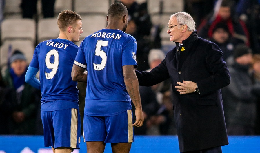 Leicester City manager Claudio Ranieri congratulates Jamie Vardy of Leicester City (left) and Wes Morgan of Leicester City (centre) after the Barclays Premier League match at the King Power Stadium, Leicester Picture by Andy Kearns/Focus Images Ltd 0781 864 4264 14/03/2016