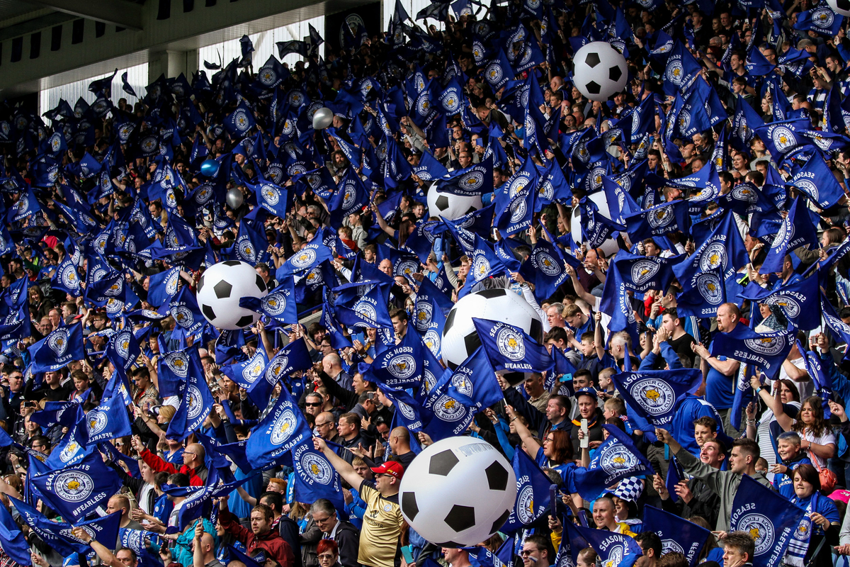 Leicester fans celebrate their final game of the season during the Barclays Premier League match at the King Power Stadium, Leicester Picture by Andy Kearns/Focus Images Ltd 0781 864 4264 24/05/2015