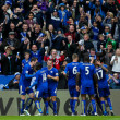 Leicester players celebrate their second goal during the Barclays Premier League match at the King Power Stadium, Leicester Picture by Andy Kearns/Focus Images Ltd 0781 864 4264 24/04/2016