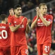 Lucas Leiva and Emre Can of Liverpool applaud the Kop End after the UEFA Europa League match against Rubin Kazan at Anfield, Liverpool. Picture by Michael Sedgwick/Focus Images Ltd +44 7900 363072 22/10/2015