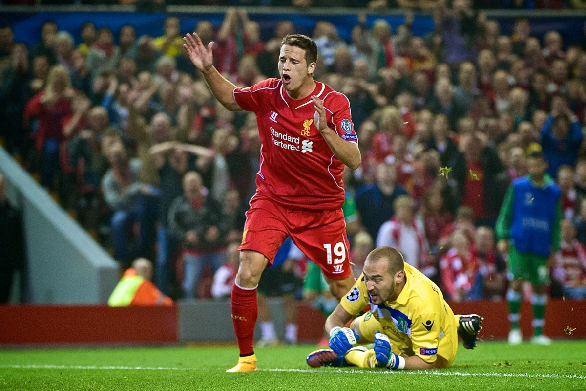 Javi Manquillo of Liverpool is disappointed after missing a chance during the UEFA Champions League match at Anfield, Liverpool Picture by Ian Wadkins/Focus Images Ltd +44 7877 568959 16/09/2014
