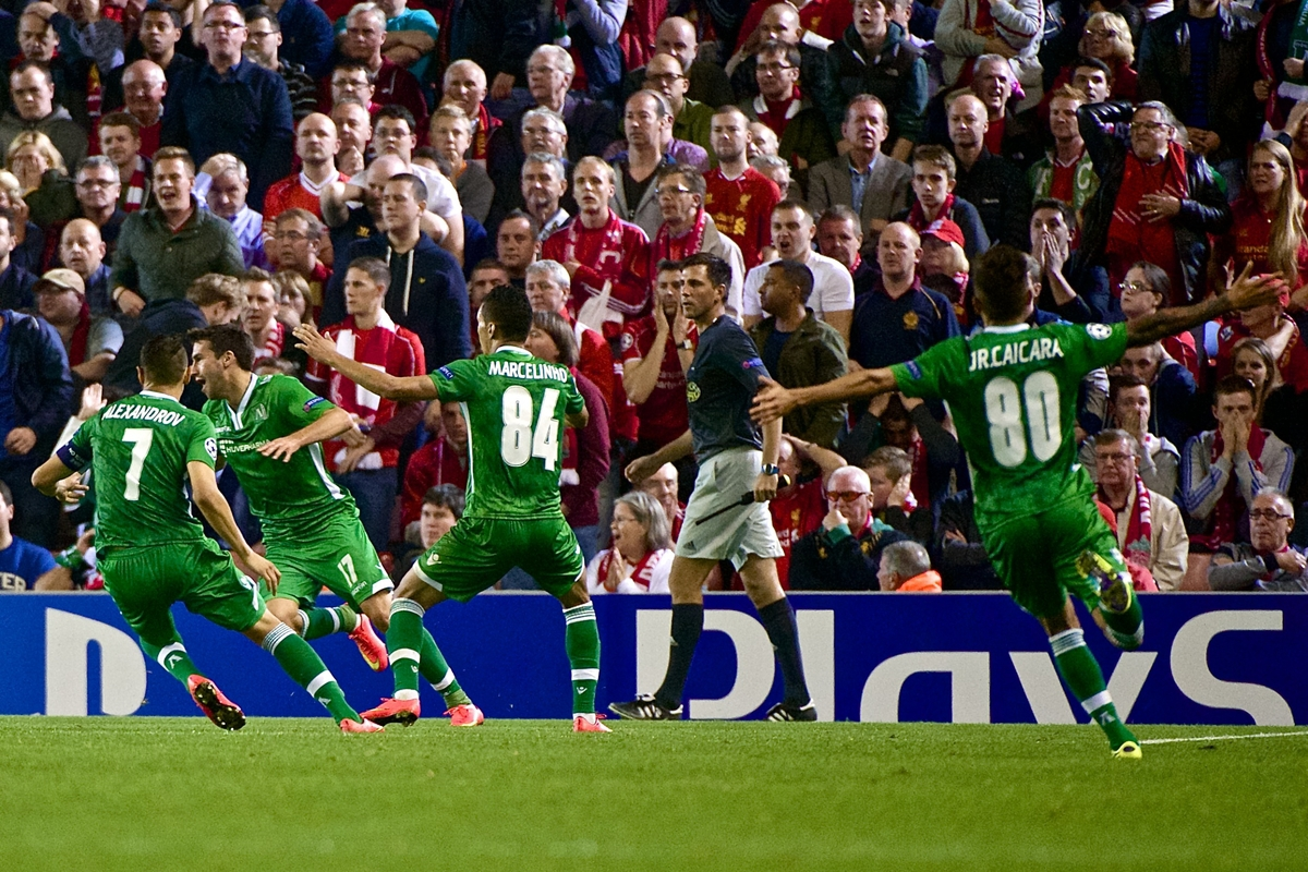 PFC Ludogorets Razgrad players celebrate after Dani Abalo (2nd left) scores to make it Liverpool 1 PFC Ludogorets Razgrad 1 during the UEFA Champions League match at Anfield, Liverpool Picture by Ian Wadkins/Focus Images Ltd +44 7877 568959 16/09/2014