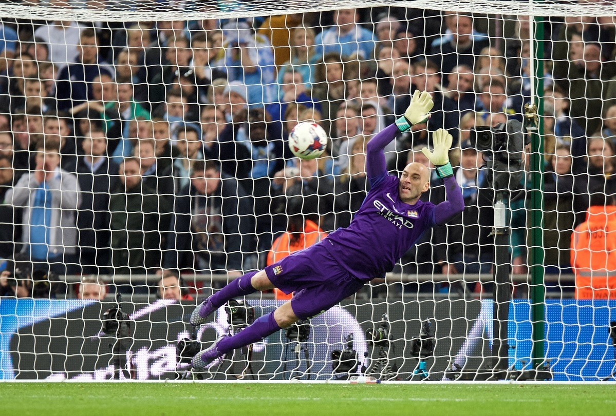 Goalkeeper Wilfredo Caballero of Manchester City makes a save during the penalty shoot out in the Capital One Cup Final at Wembley Stadium, London Picture by Alan Stanford/Focus Images Ltd +44 7915 056117 28/02/2016