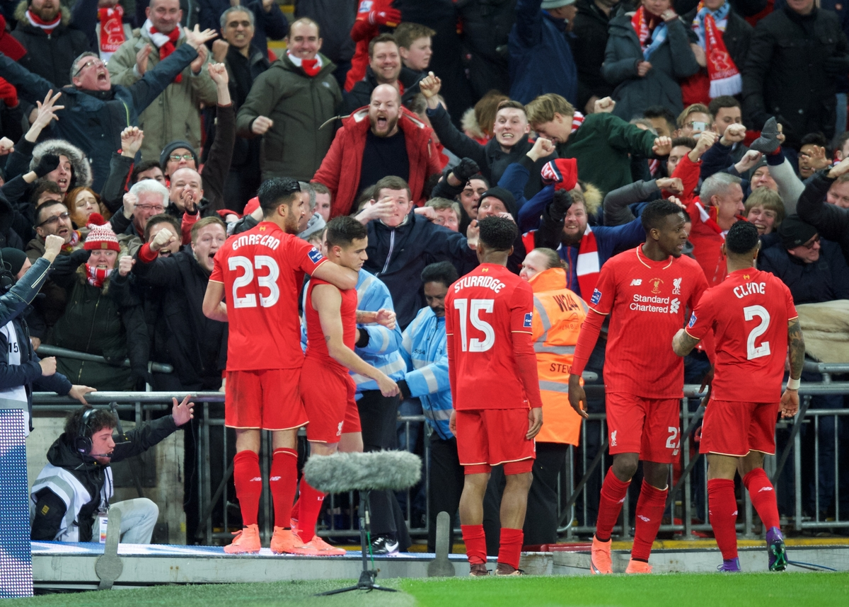 Liverpool celebrate after Philippe Coutinho (2nd left) of Liverpool scores the equaliser during the Capital One Cup Final at Wembley Stadium, London Picture by Alan Stanford/Focus Images Ltd +44 7915 056117 28/02/2016
