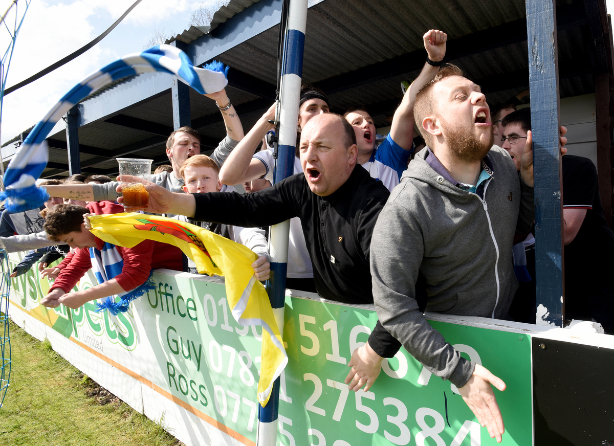 Barrow celebrate winning the Conference North championship at Crown Meadow, Lowestoft Picture by Rob Howarth/Focus Images Ltd 07768 285551 25/04/2015 25/04/2015