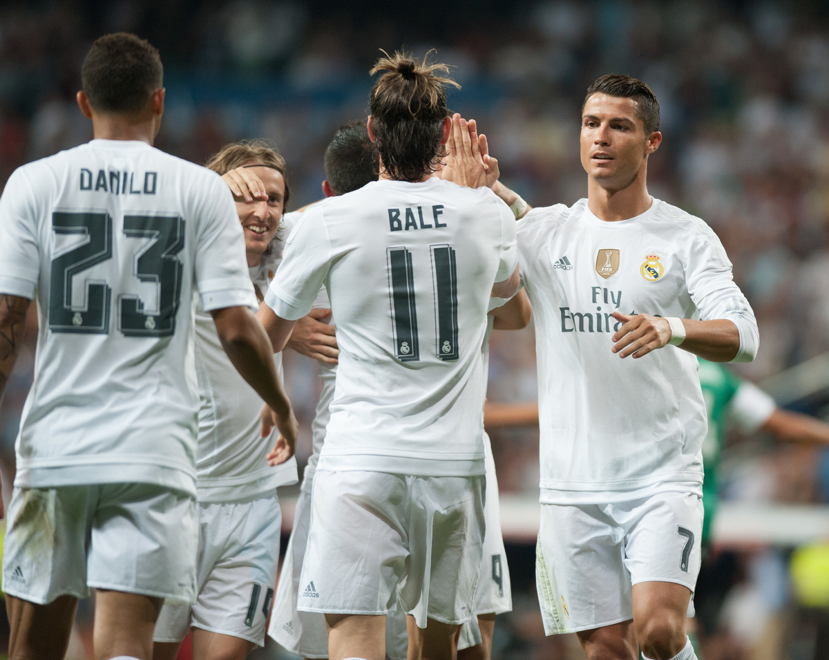 Real Madrid  celebrates scoring during the La Liga match at the Estadio Santiago Bernabeu, Madrid Picture by Marcos Calvo Mesa/Focus Images Ltd +34 654142934 29/08/2015