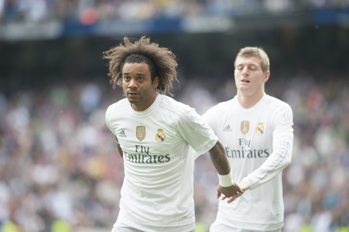 Marcelo and Toni Kroos of Real Madrid celebrate 1-0 during the La Liga match at the Estadio Santiago Bernabeu, Madrid Picture by Marcos Calvo Mesa/Focus Images Ltd +34 654142934 31/10/2015