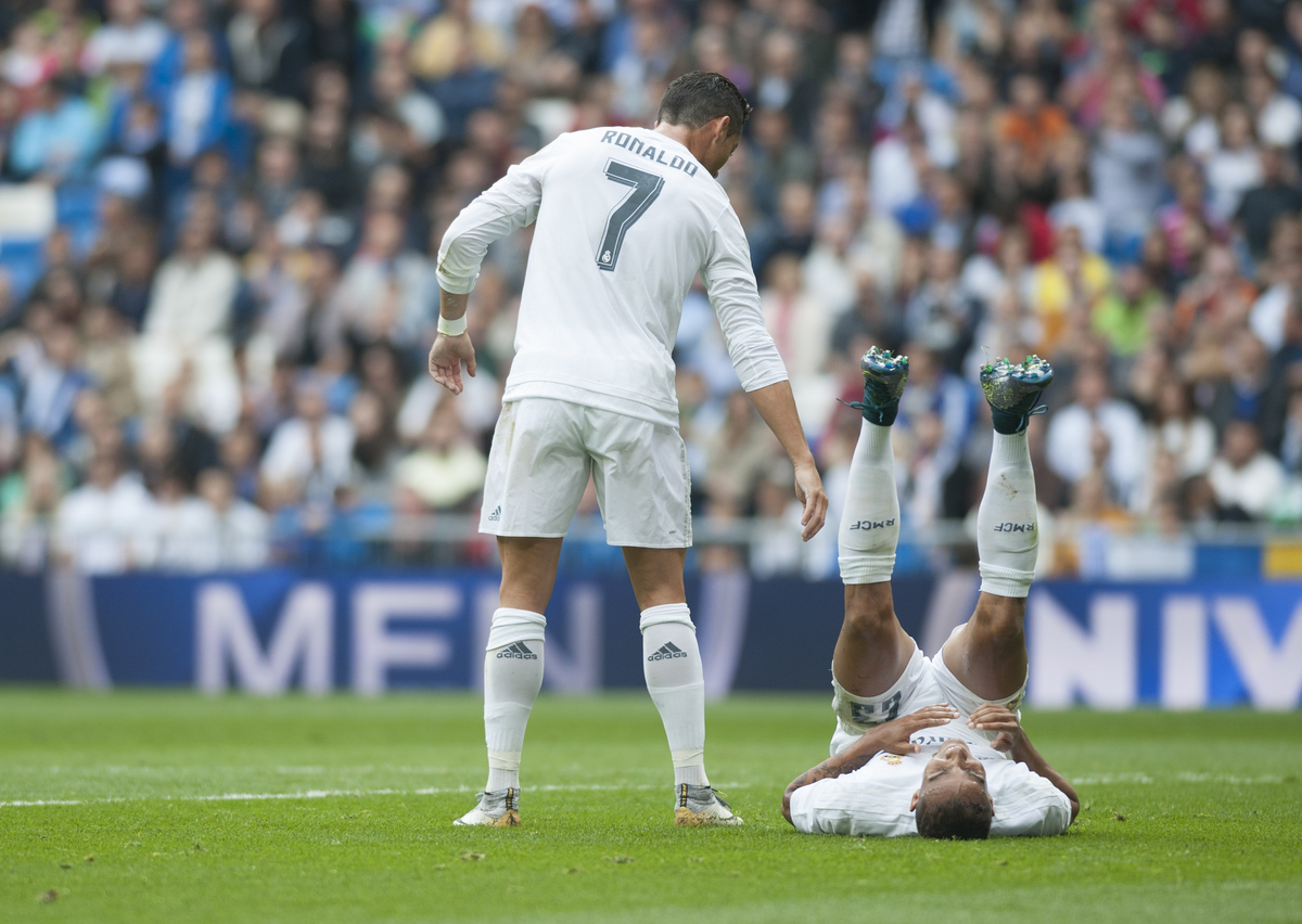 Cristiano Ronaldo and Danilo of Real Madrid during the La Liga match at the Estadio Santiago Bernabeu, Madrid Picture by Marcos Calvo Mesa/Focus Images Ltd +34 654142934 31/10/2015