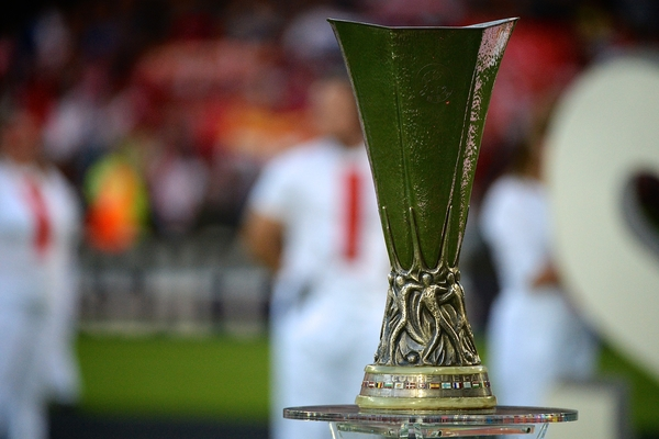 Europa League trophy on display pictured ahead of the European Super Cup match at the Cardiff City Stadium, Cardiff Picture by Ian Wadkins/Focus Images Ltd +44 7877 568959 12/08/2014