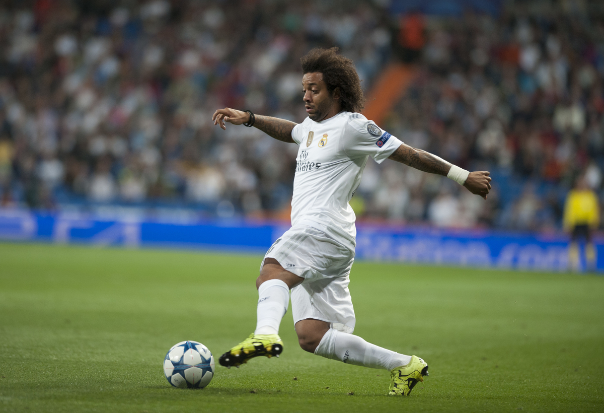 Marcelo of Real Madrid during the UEFA Champions League match at the Estadio Santiago Bernabeu, Madrid Picture by Marcos Calvo Mesa/Focus Images Ltd +34 654142934 15/09/2015