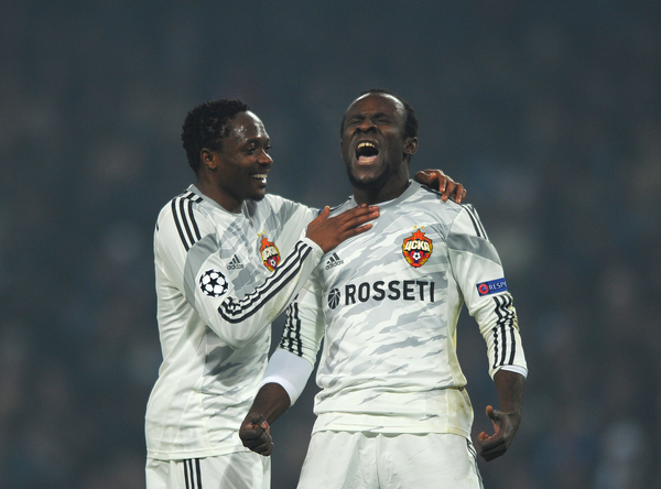Seydou Doumbia of CSKA Moscow (right) celebrates scoring their second goal during the UEFA Champions League match at the Etihad Stadium, Manchester Picture by Greg Kwasnik/Focus Images Ltd +44 7902 021456 05/11/2014