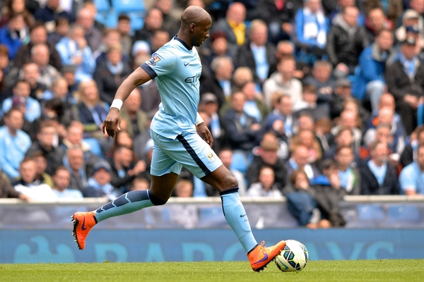 Eliaquim Mangala of Manchester City during the Barclays Premier League match at the Etihad Stadium, Manchester Picture by Ian Wadkins/Focus Images Ltd +44 7877 568959 19/04/2015