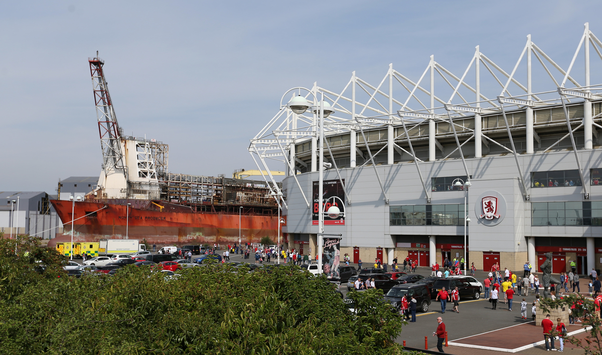 North Sea Producer outside the Riverside Stadium prior to the Sky Bet Championship match at the Riverside Stadium, Middlesbrough Picture by Simon Moore/Focus Images Ltd 07807 671782 22/08/2015