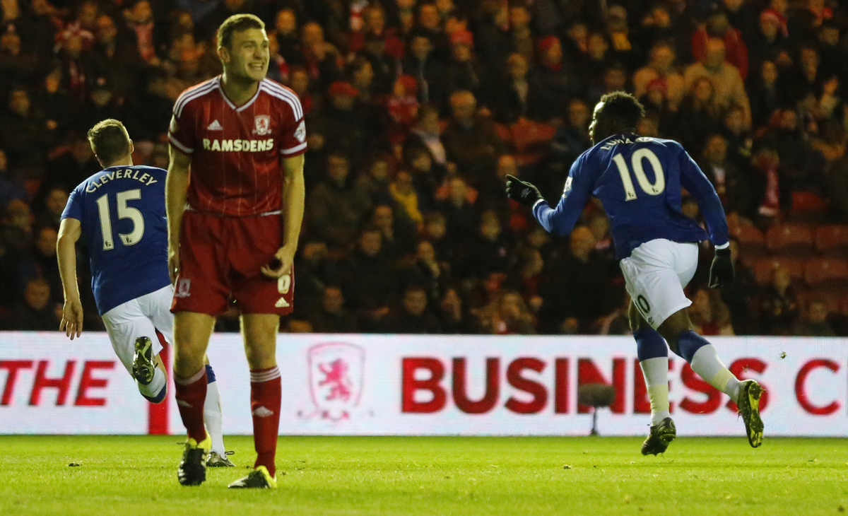 Romelu Lukaku (r) of Everton celebrates scoring to make it 0-2 during the Capital One Cup match at the Riverside Stadium, Middlesbrough Picture by Simon Moore/Focus Images Ltd 07807 671782 01/12/2015