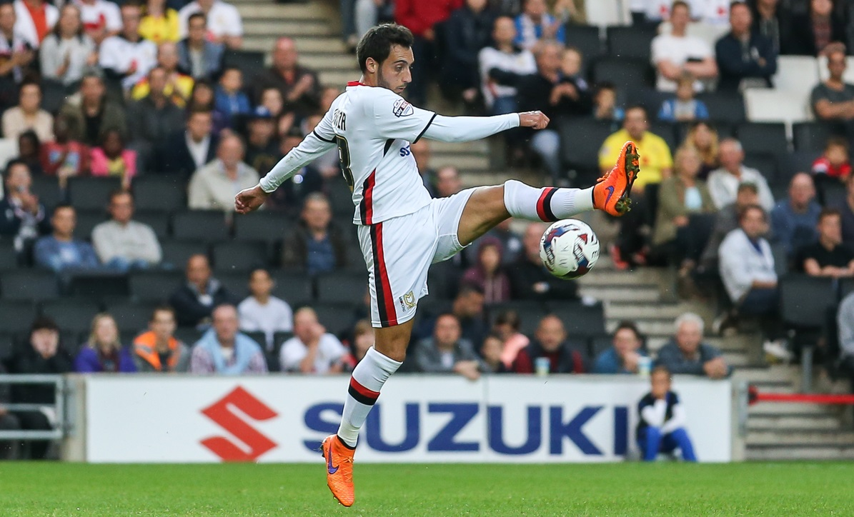 Sergio Aguza of Milton Keynes Dons during the Capital One Cup match at stadium:mk, Milton Keynes Picture by David Horn/Focus Images Ltd +44 7545 970036 11/08/2015